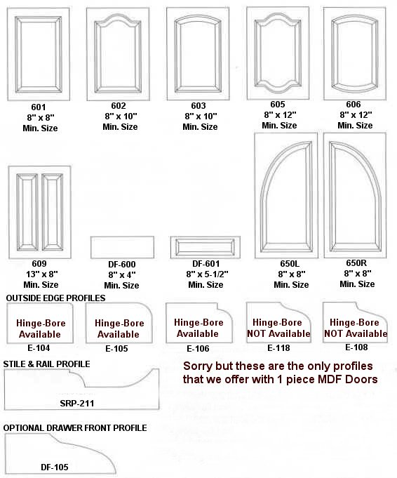 All 1 piece MDF Doors are priced by the square foot as listed below. For multiple panels add $15.15 per panel. Doors over 48  height will have center rail.  sc 1 st  Tape Ease & 1 PIECE MDF DOORS